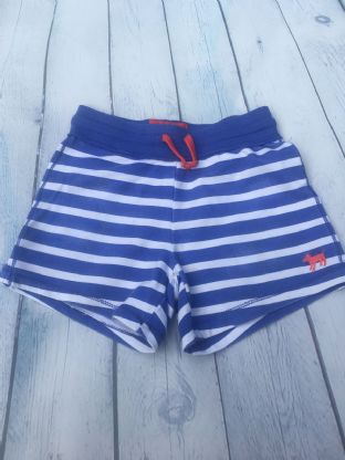 Mini Boden blue and white striped shorts age 6-7